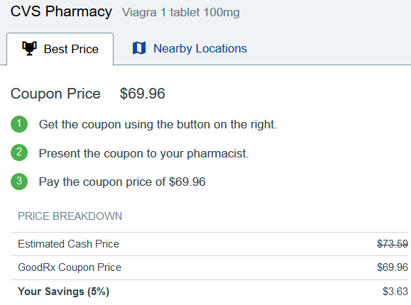 CVS Pharmacy Price for Brand Viagra 100 mg from Pfizer