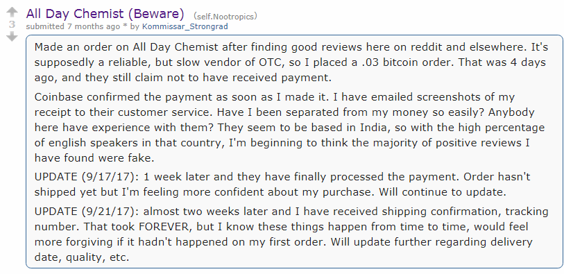 Reddit hosts several Discussions on All Day Chemist