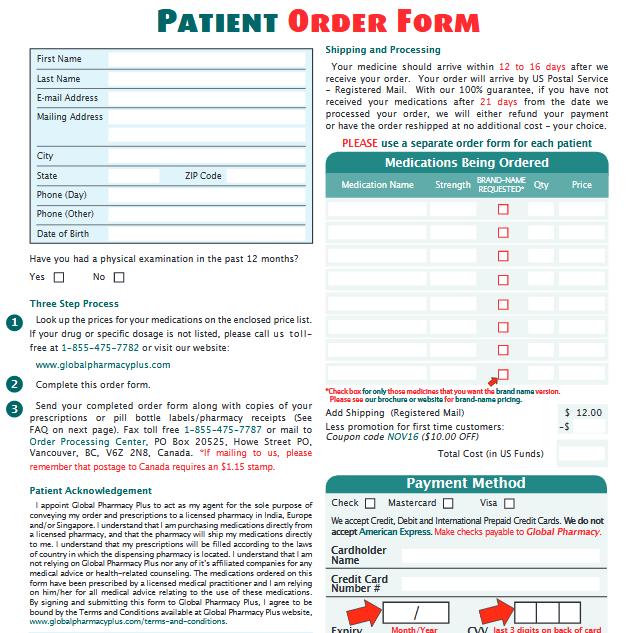 Global Pharmacy Plus Order Form