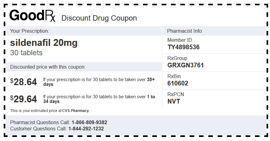 Sildenafil Generic CVS Coupon (20 mg Tablets – 30 Tablets)