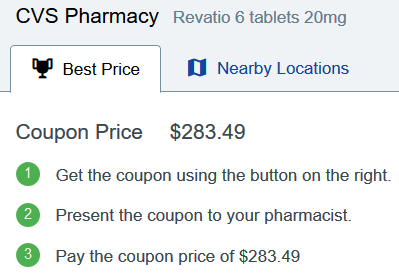 Sildenafil Price CVS Pharmacy – Revatio 6 Tablets 20mg