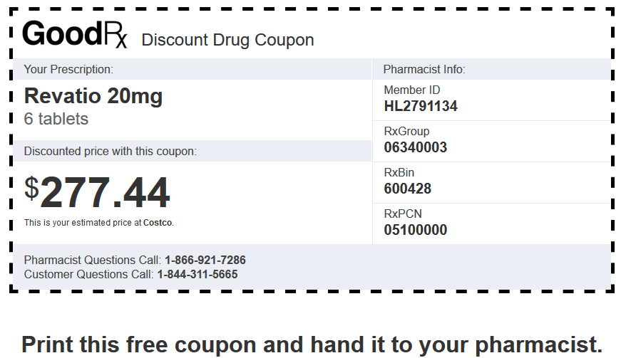 Sildenafil Price Costco – Revatio 20mg 6 Tablets Coupon