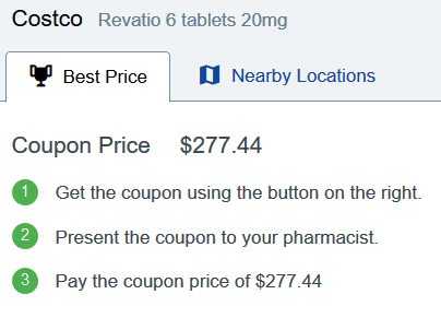 Sildenafil Price Costco – Revatio 6 Tablets 20mg