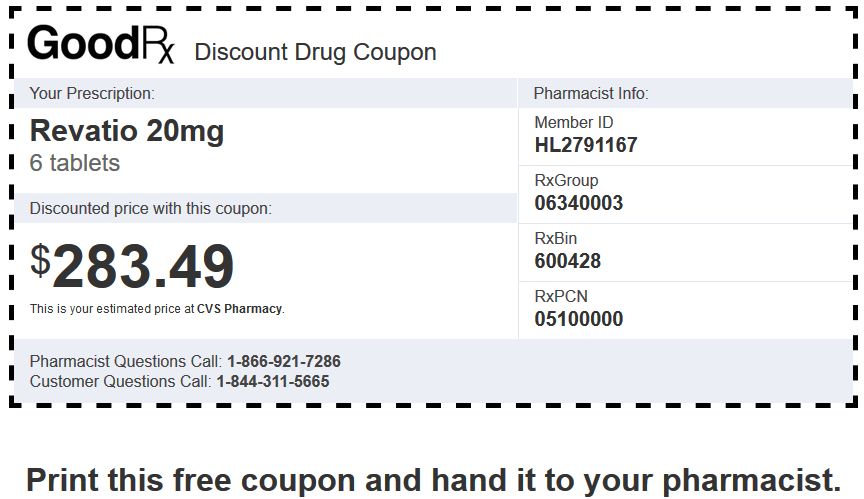 Sildenafil Price CVS Pharmacy – Revatio 20 mg 6 Tablets