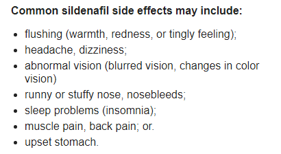 Sildenafil 100mg Side Effects