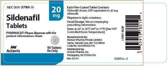 A typical prescription label for sildenafil 20 mg tablets