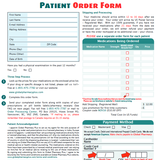 Global Pharmacy Plus Order Form